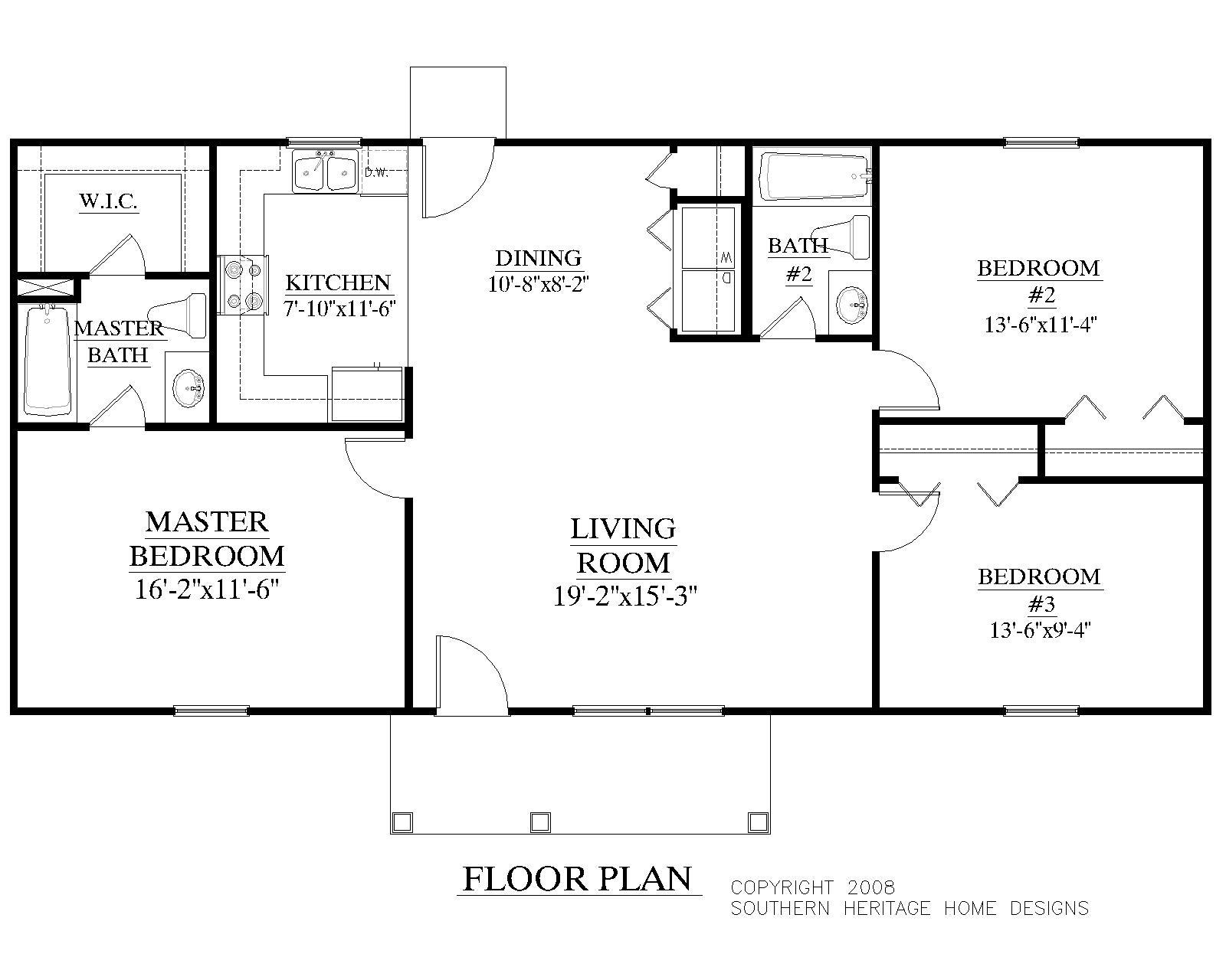 Houseplans.biz | House Plan 1200-A The Korey A - Free Printable Small House Plans
