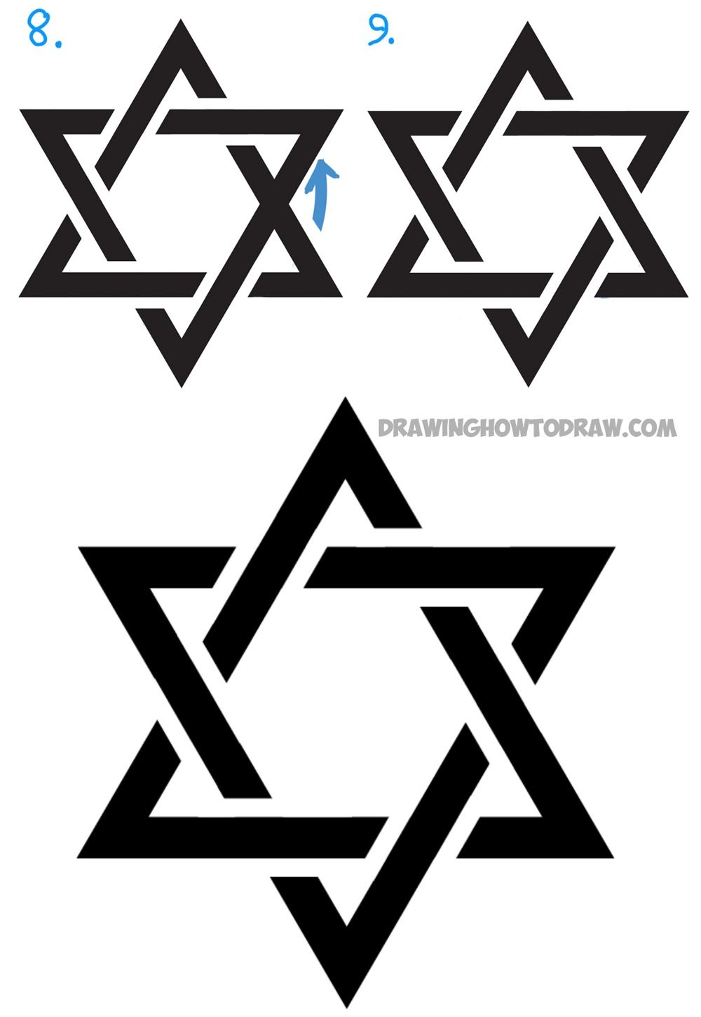 How To Draw The Star Of David (The Jewish Star) With Easy Steps - Star Of David Template Free Printable