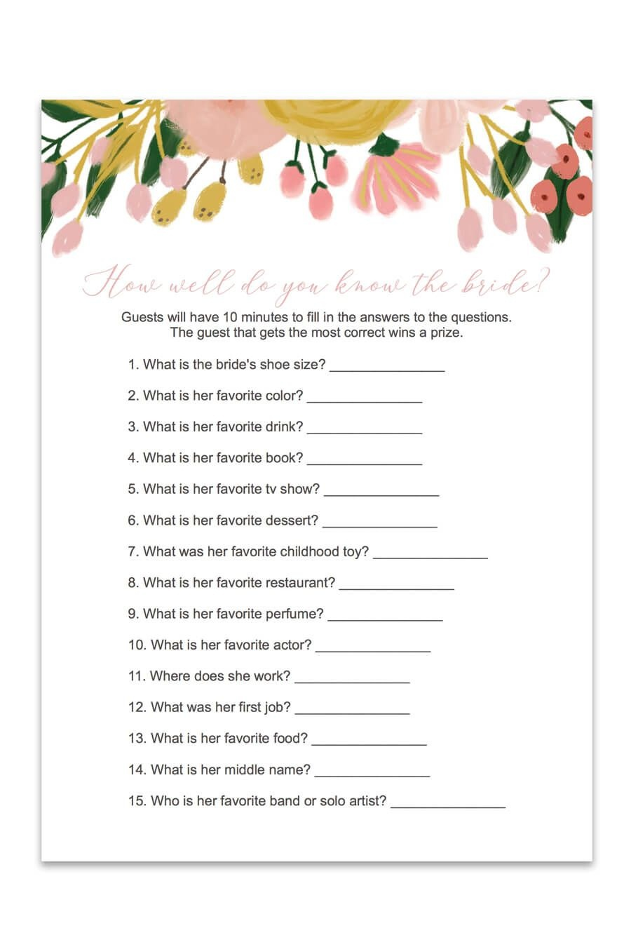 How Well Do You Know The Bride Bridal Shower Game (Whimsical - How Well Do You Know The Bride Game Free Printable