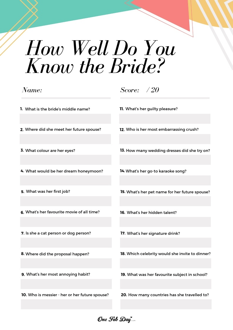 How Well Do You Know The Bride? Game: A Free Bridal Shower Printable - How Well Do You Know The Bride Game Free Printable