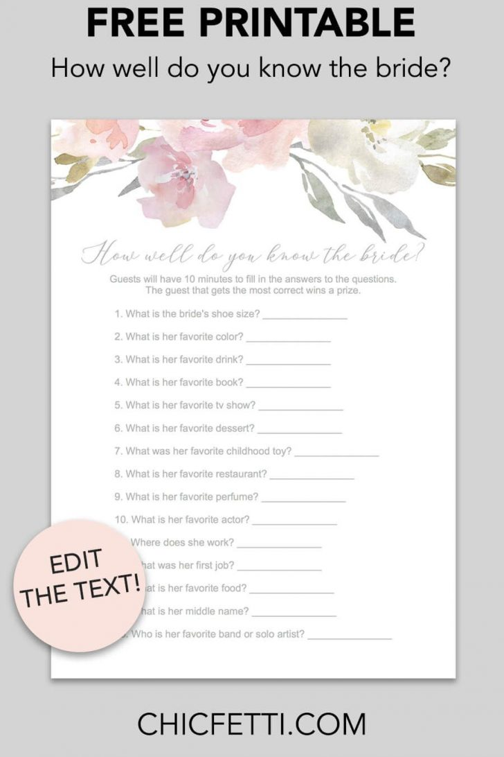 How Well Do You Know The Bride Game Free Printable