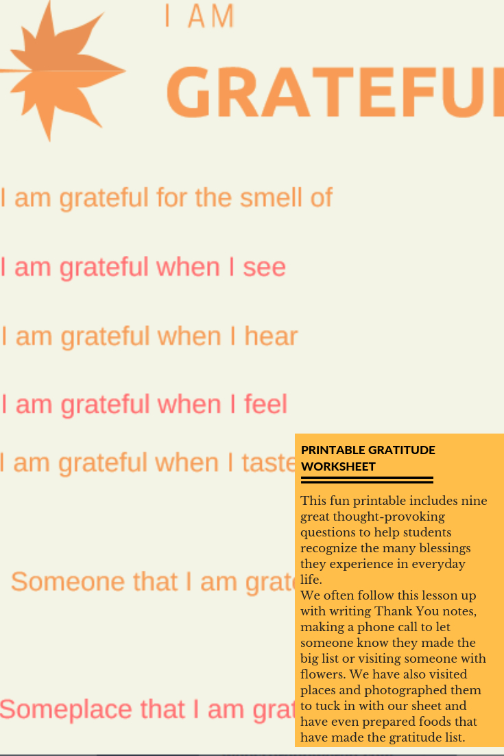 I Am Grateful Free Printable Worksheet For Students - Free Printable Gratitude Worksheets
