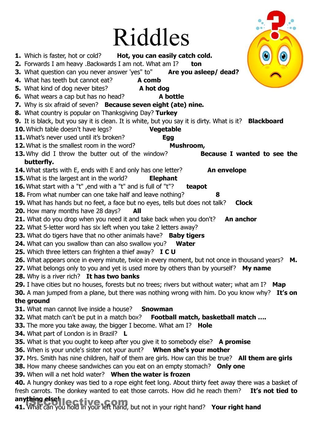 I Couldn't Guess The Answer For #22 And I Didn't Understand #38 - Free Printable Riddles