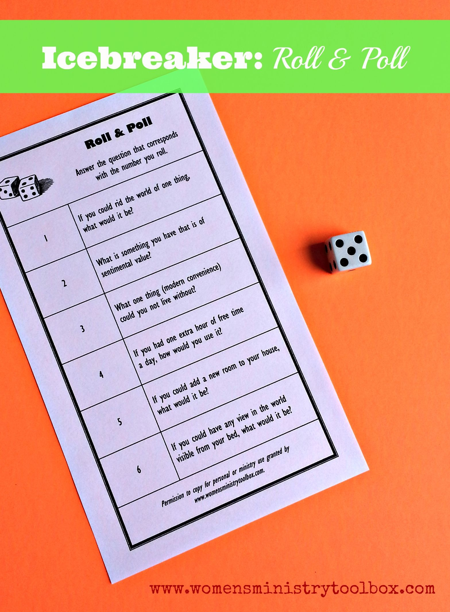 Icebreaker Game: Roll & Poll (Free Printable | Real Moms | Ice - Free Printable Group Games