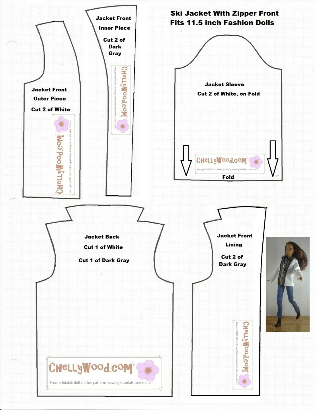 Image Of Printable Sewing Pattern For A Ski Coat Or Winter Jacket To - Free Printable Sewing Patterns