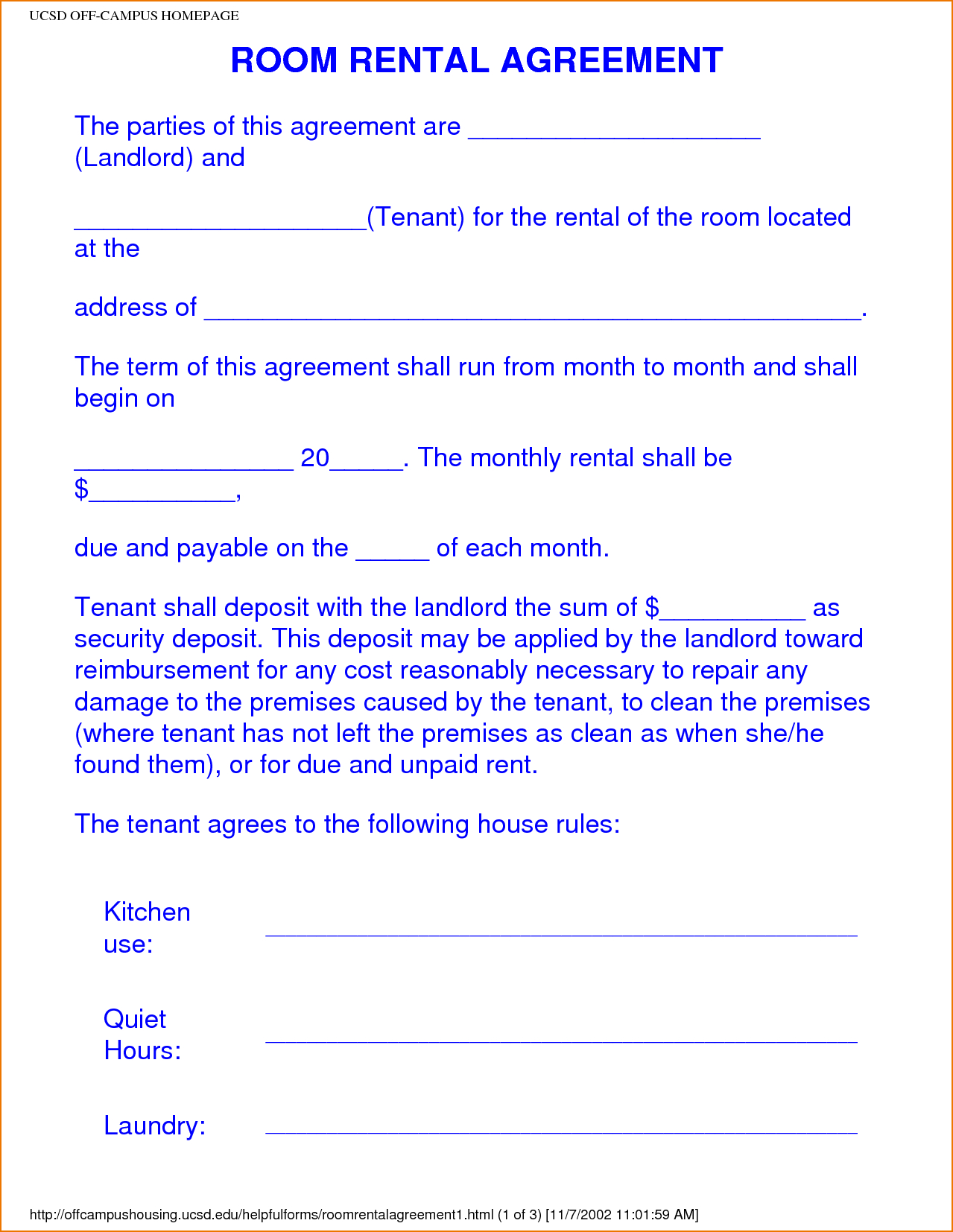 Image Result For College Roommate Agreement Template Room Rental - Free Printable Room Rental Agreement Forms