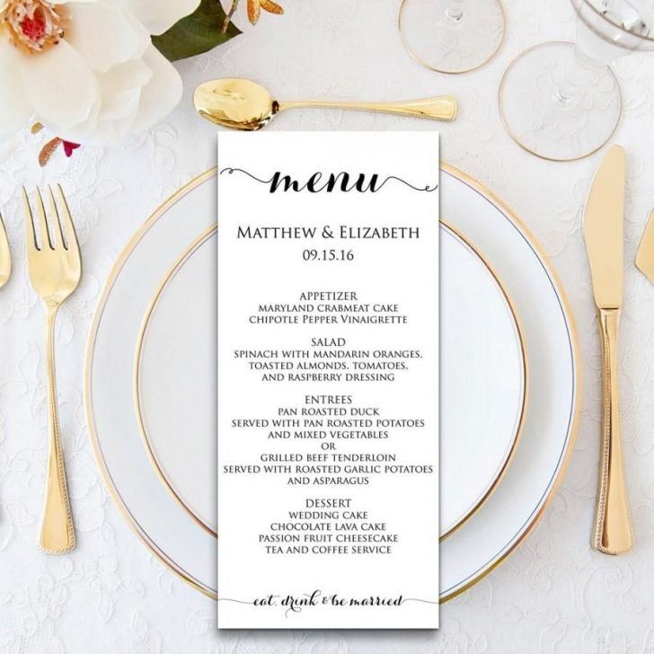 Free Printable Wedding Menu Card Templates