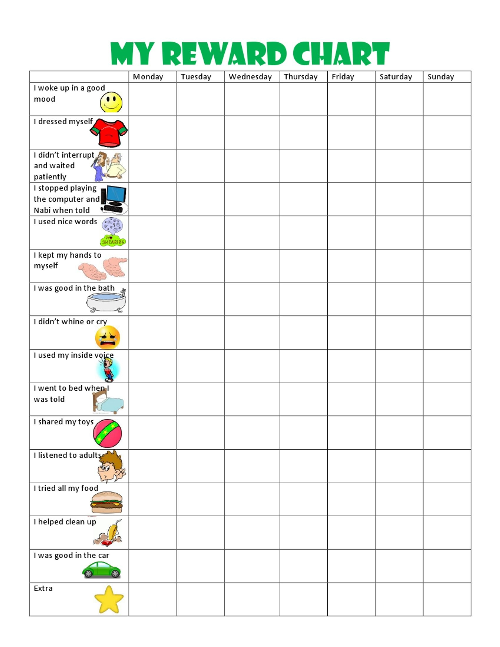 Image Result For Free Printable Behavior Charts For 6 Year Olds - Reward Charts For Toddlers Free Printable
