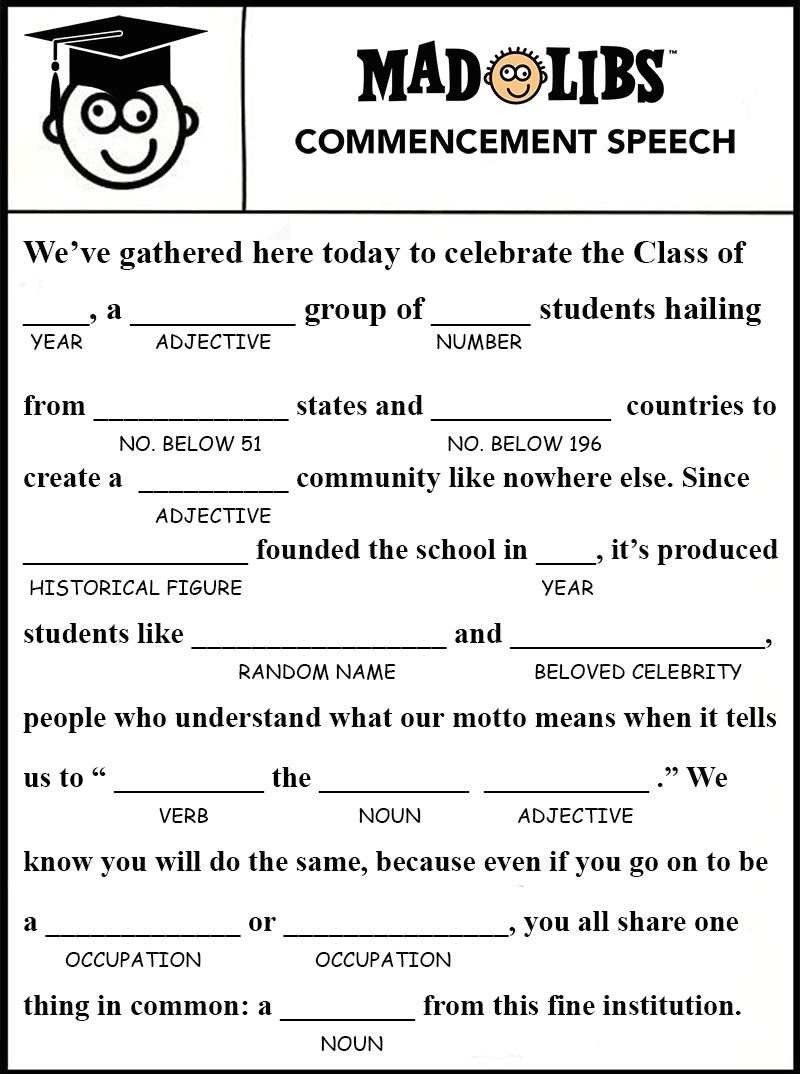 Image Result For Free Printable Graduation Mad Libs   Gatsby - Free Printable Graduation Party Games