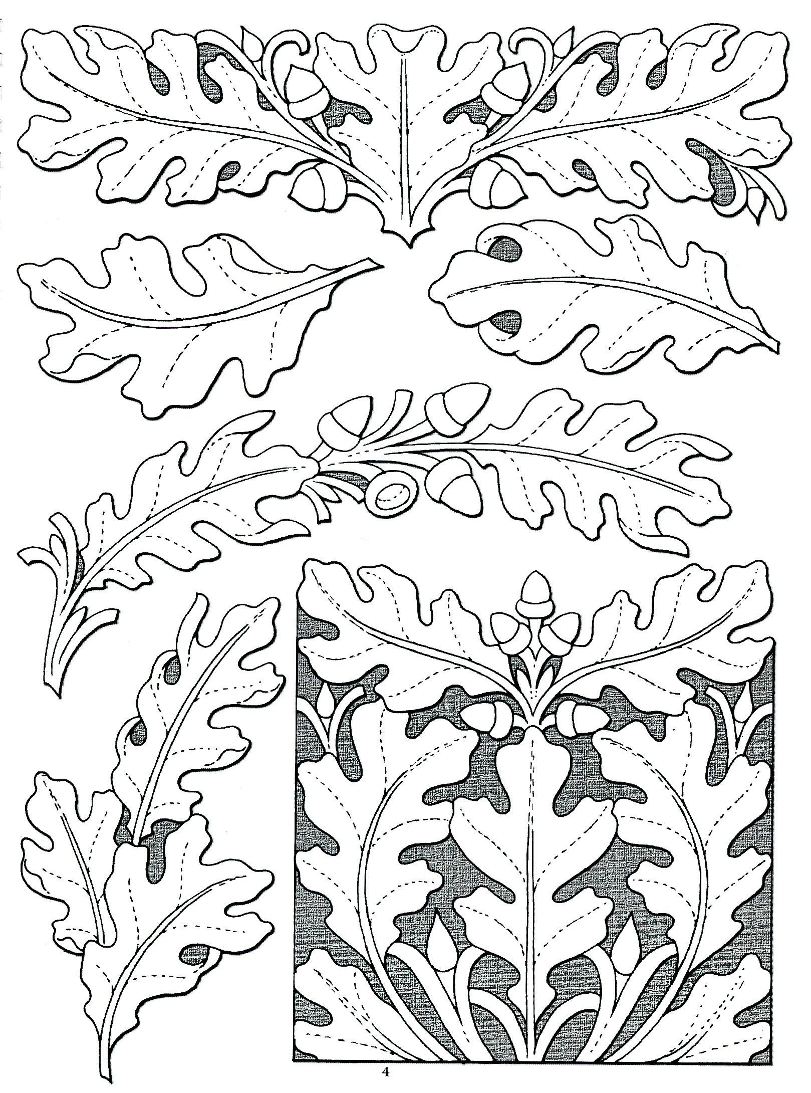 Inspirational Free Printable Leather Tooling Patterns  | Leather - Free Printable Oak Leaf Patterns