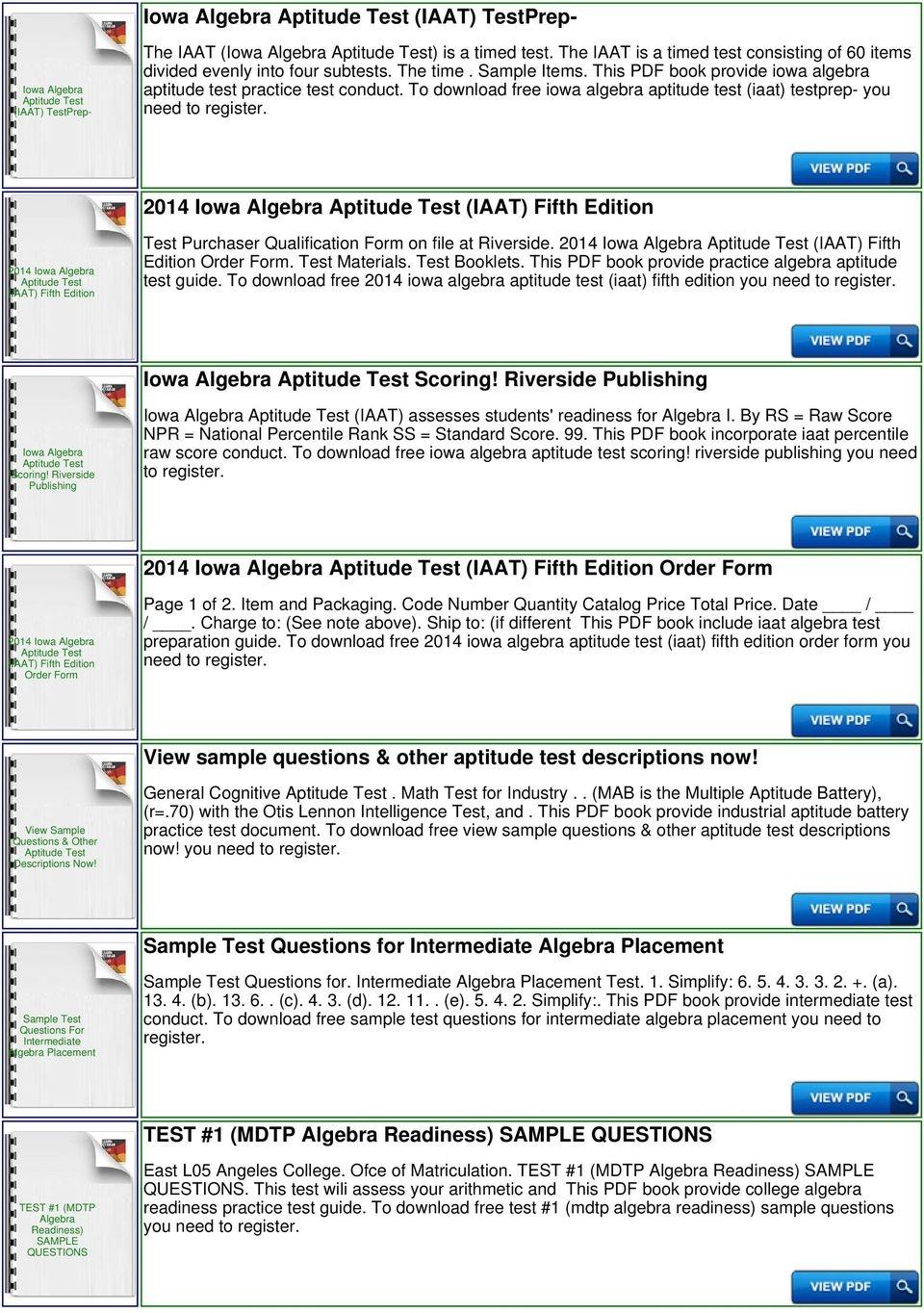 Iowa Algebra Aptitude Test Sample Questions - Pdf - Free Printable Aptitude Test