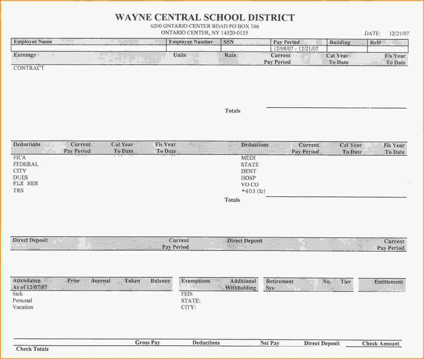Is Typically Provided As Documentation Of Payment De Check Stub - Printable Pay Stub Template Free