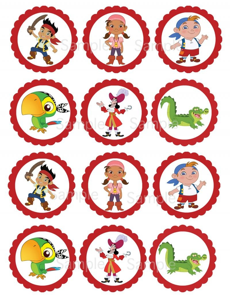 Jake And The Neverland Pirate Printable   Thelovelymemories - Free Printable Jake And The Neverland Pirates Cupcake Toppers