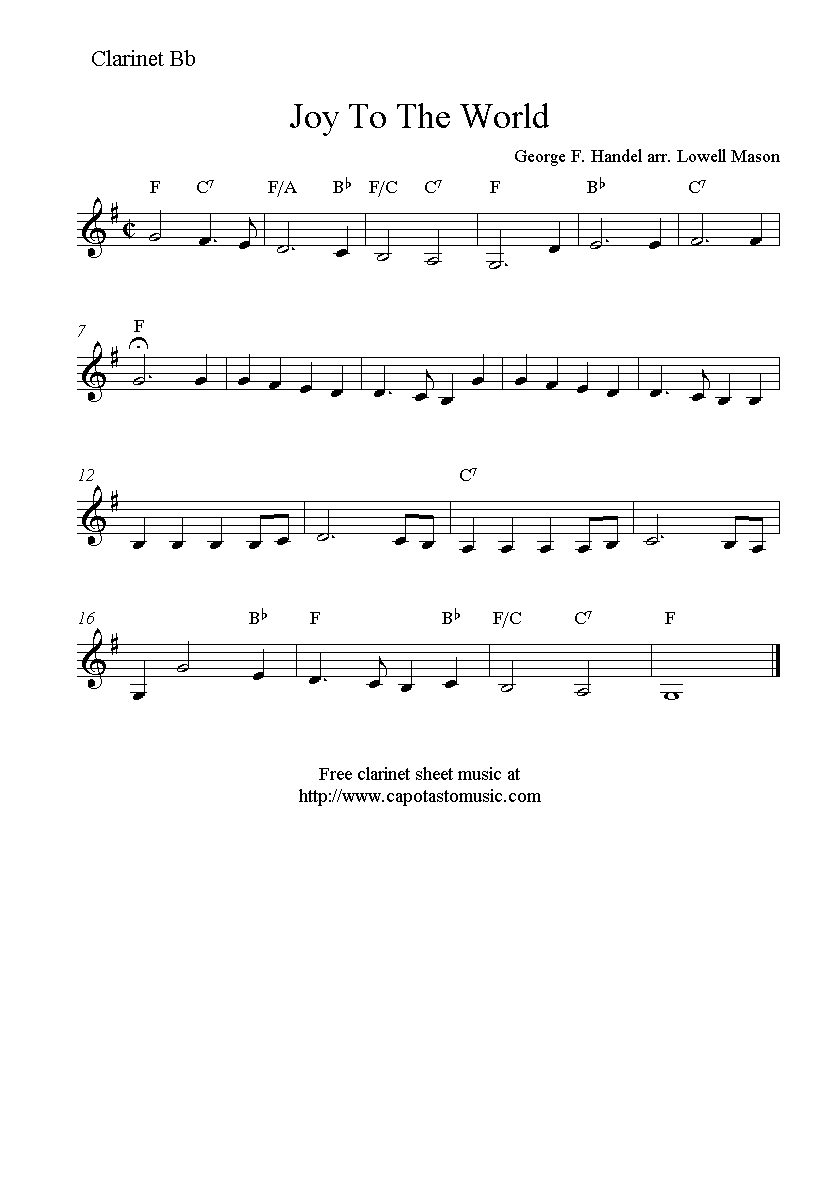 Joy To The World, Free Christmas Clarinet Sheet Music Notes - Free Printable Christmas Sheet Music For Clarinet