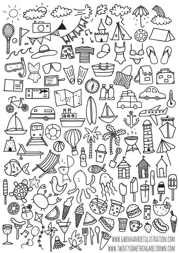 Jul 3 ***free*** Bullet Journal Printable; Summer Icons   Bullet - Free Printable Icons