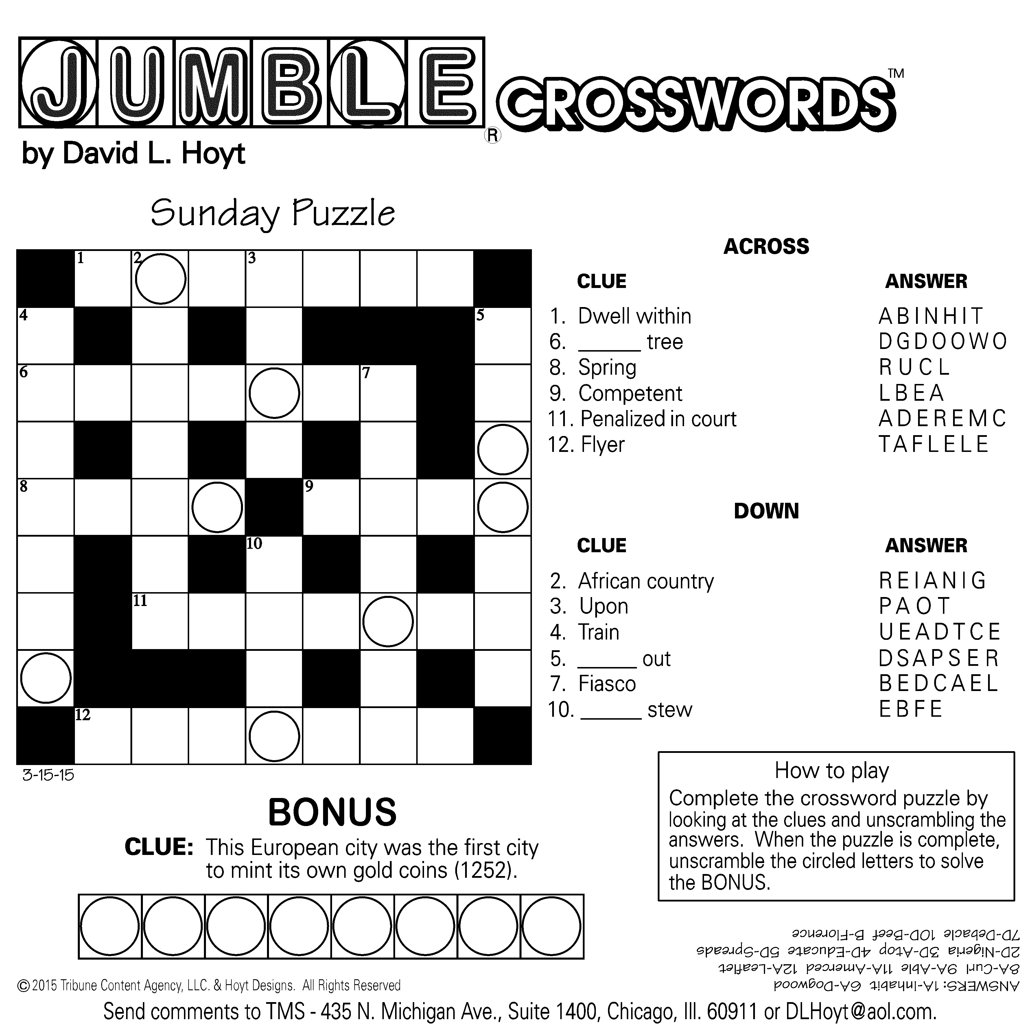 Jumble Archives | Tribune Content Agency - Free Printable Word Jumble Puzzles For Adults