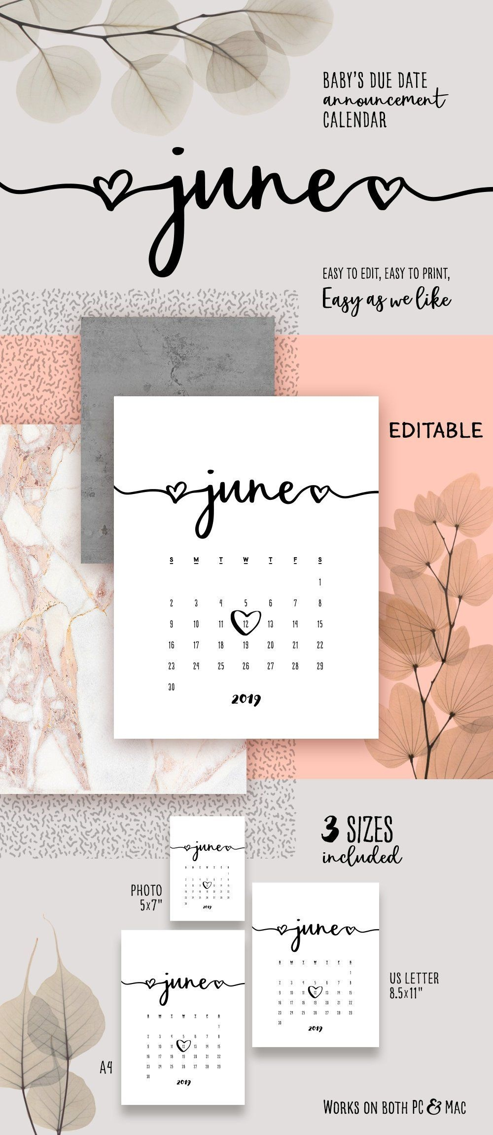 June 2019 Printable Pregnancy Calendar Template Lovely Baby Due Date - Free Printable Baby Announcement Templates