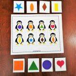 Keywords: Matching,activities,shapes,penguin,animals,toddler,free   Free Printable Preschool Folder Games