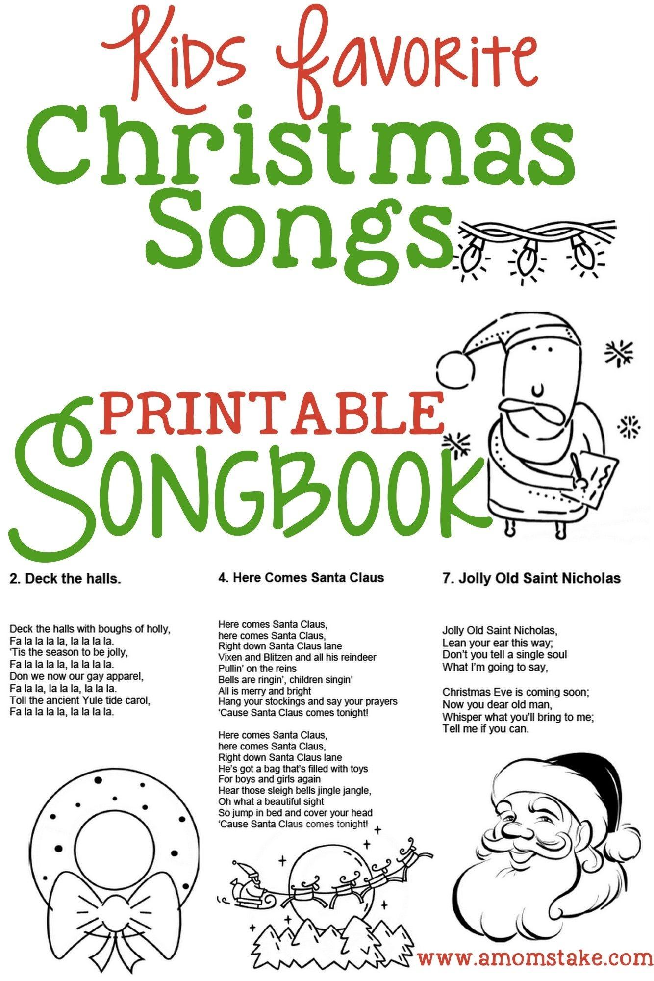 Kids Christmas Songbook   Christmas   Christmas Songs For Kids - Free Printable Christmas Books For Kindergarten