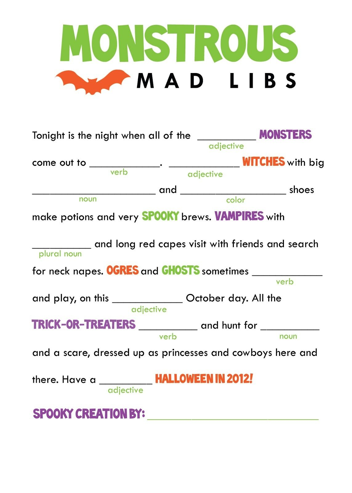 Kids Mad Libs Printable Free - Google Search | Classroom Party - Free Printable Mad Libs For Middle School Students