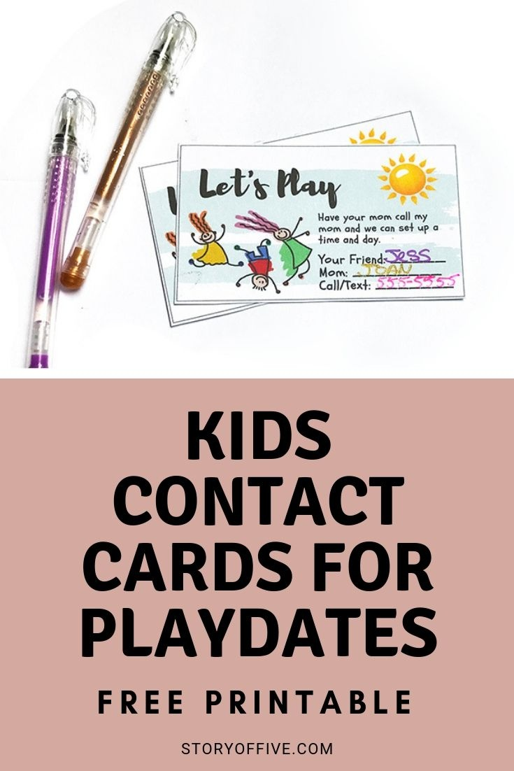 Kids Play Date / Keep In Touch Cards |Melanie @ The Story Of - Free Printable Play Date Cards