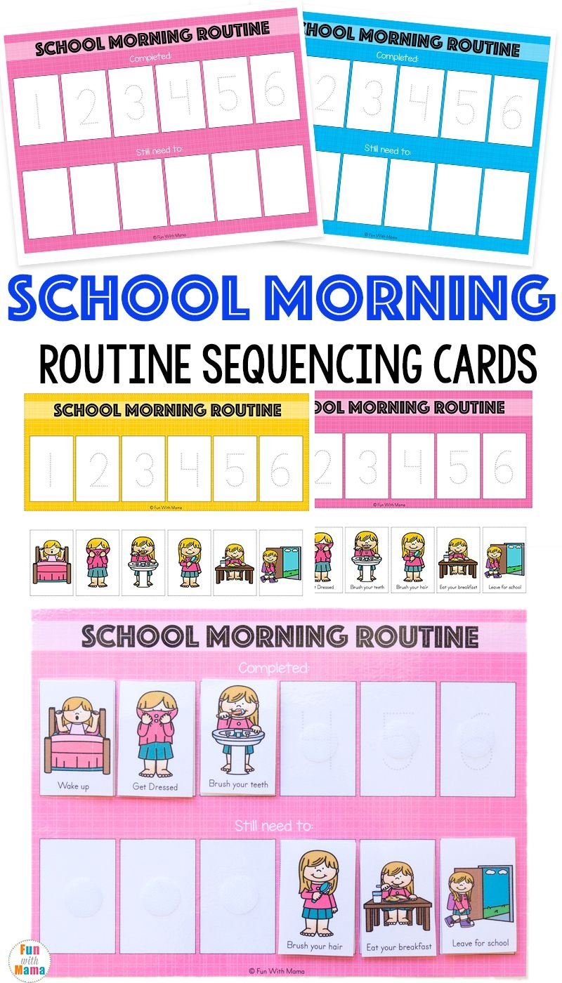 Kids Schedule Morning Routine For School   Organization   Morning - Free Printable Daily Routine Picture Cards