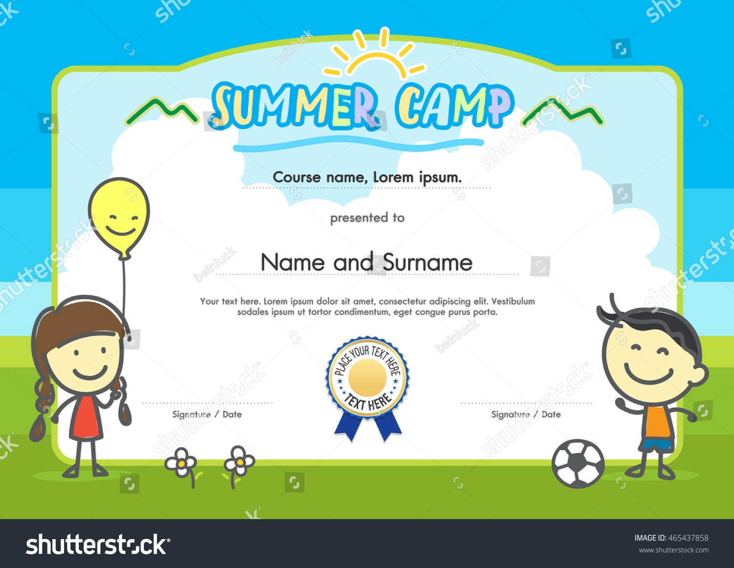 Kids Summer Camp Certificate Document Template Stock Vector (Royalty - Free Printable Camp Certificates