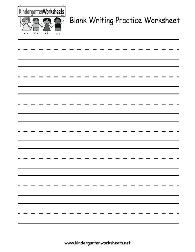 Kindergarten Blank Writing Practice Worksheet Printable | Writing - Free Printable Blank Handwriting Worksheets
