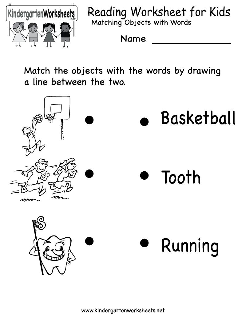 Kindergarten Reading Worksheet For Kids Printable | Worksheets - Free Printable Reading Activities For Kindergarten