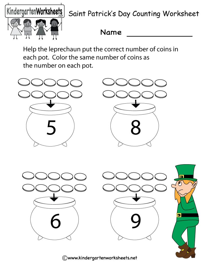 Kindergarten Saint Patrick's Day Counting Worksheet Printable - Free Printable St Patrick Day Worksheets
