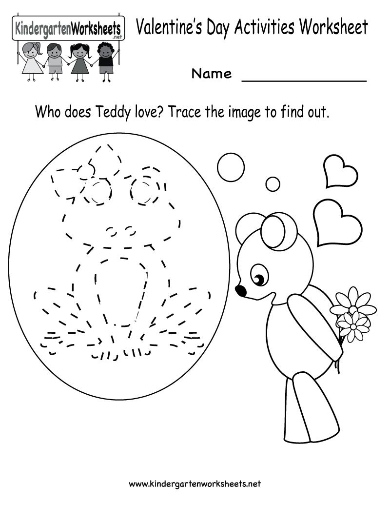 Kindergarten Valentine's Day Activities Worksheet Printable   Cute - Free Printable Kid Activities Worksheets