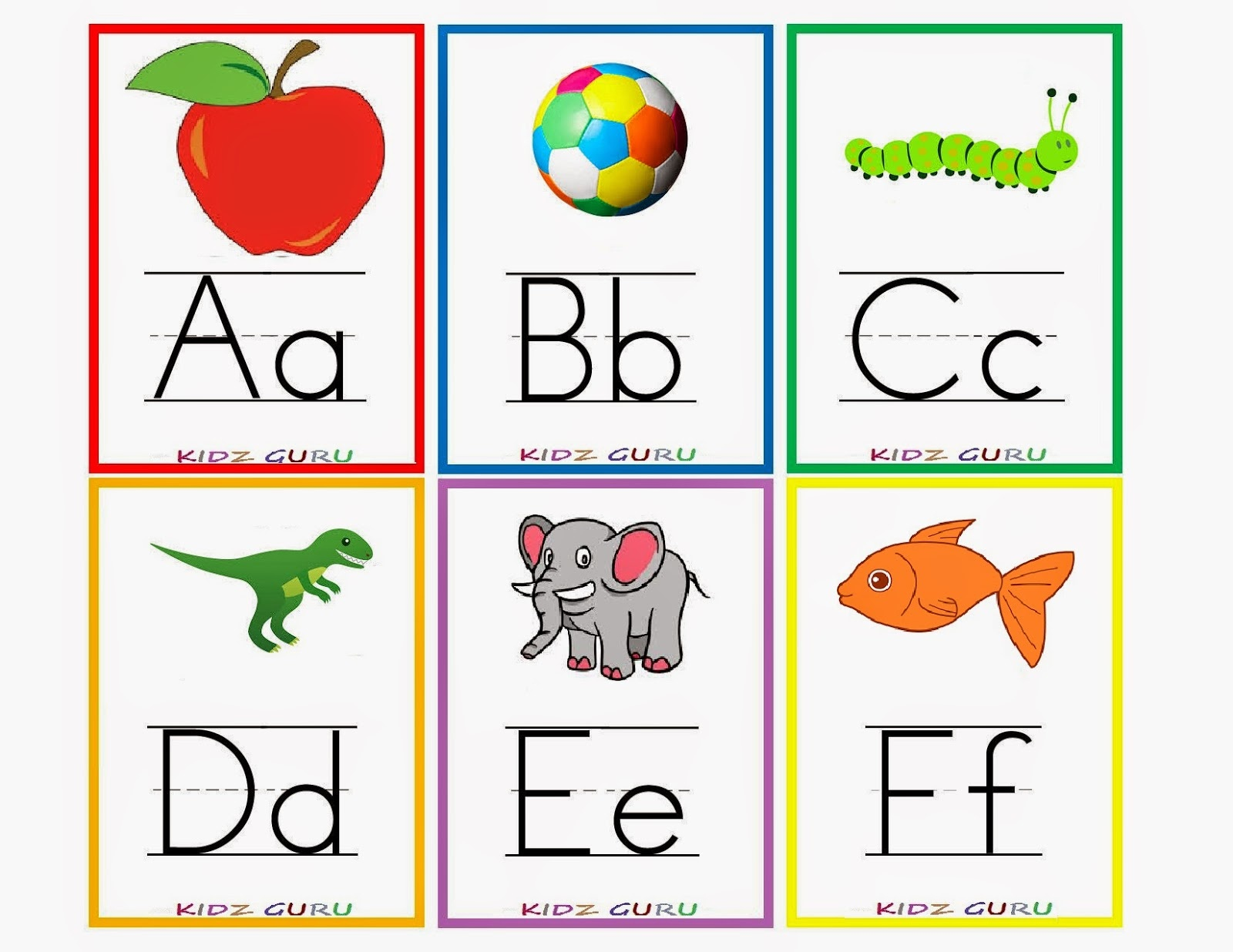 Kindergarten Worksheets: Printable Worksheets - Alphabet Flash Cards 1 - Free Printable Alphabet Cards With Pictures