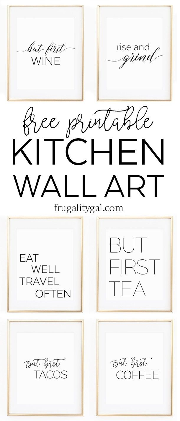 Kitchen Gallery Wall Printables | Free Printable Wall Art - Free Black And White Printable Art