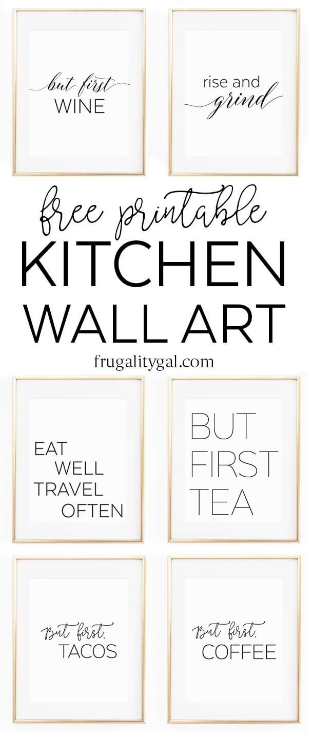 "Kitchen Wall Art - 8X10"" Set Of Six Prints - Free Printable - Free Printable Wall Art Prints"