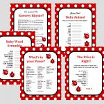 Ladybug Printable Baby Shower Games In 2019 | Baby Shower Ladybug   Free Printable Mickey Mouse Baby Shower Games