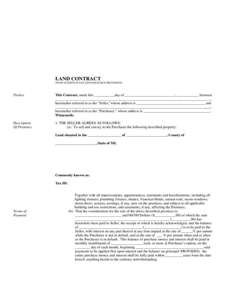 Land Contract Form - 5 Free Templates In Pdf, Word, Excel Download - Free Printable Land Contract Forms