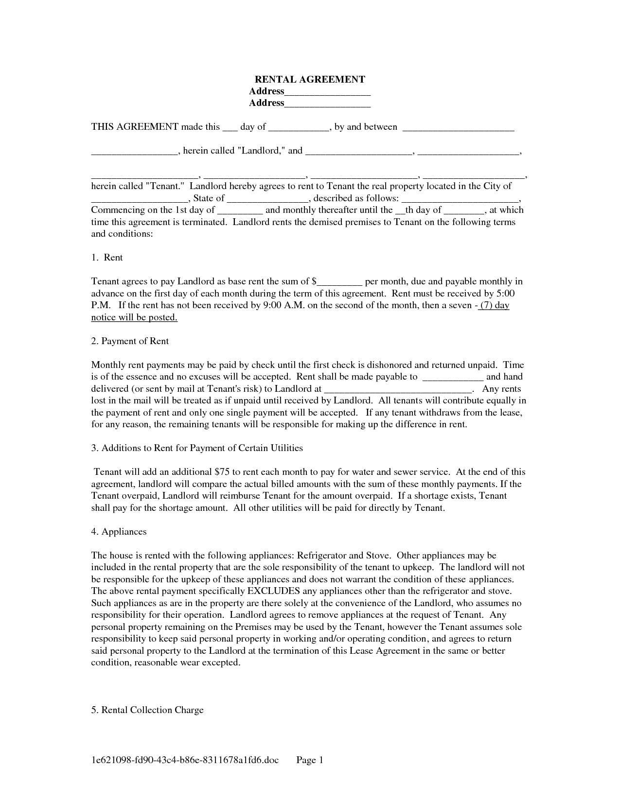 Landlord Lease Template - Tutlin.psstech.co - Free Printable Lease Agreement Forms