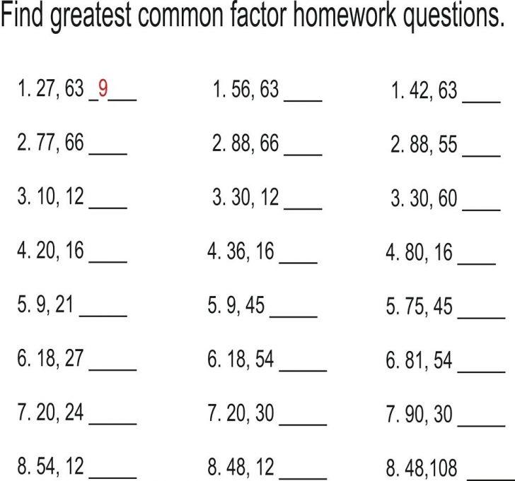 Least Common Multiple Worksheet Free Printable