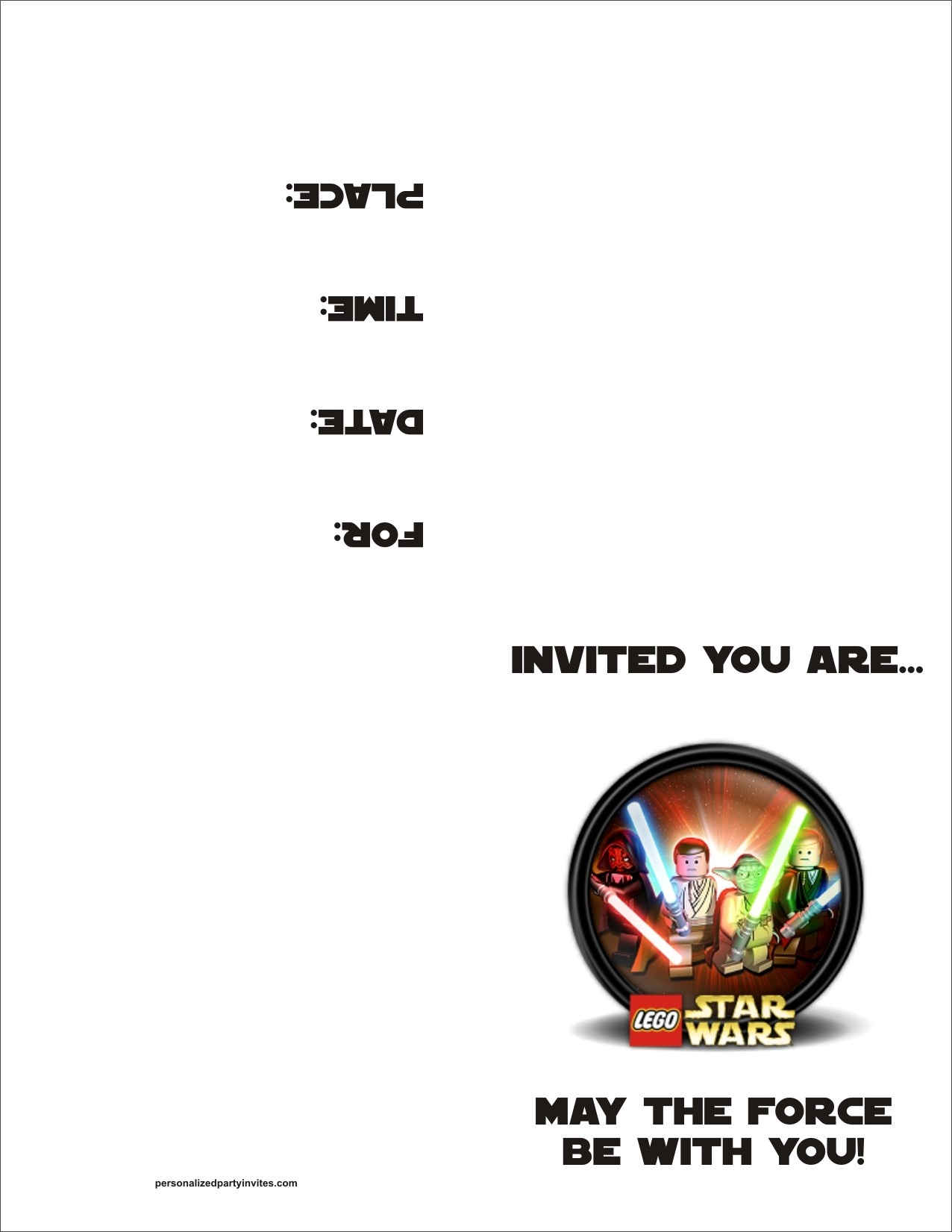 Lego Star Wars Free Printable Birthday Party Invitation Personalized - Star Wars Invitations Free Printable