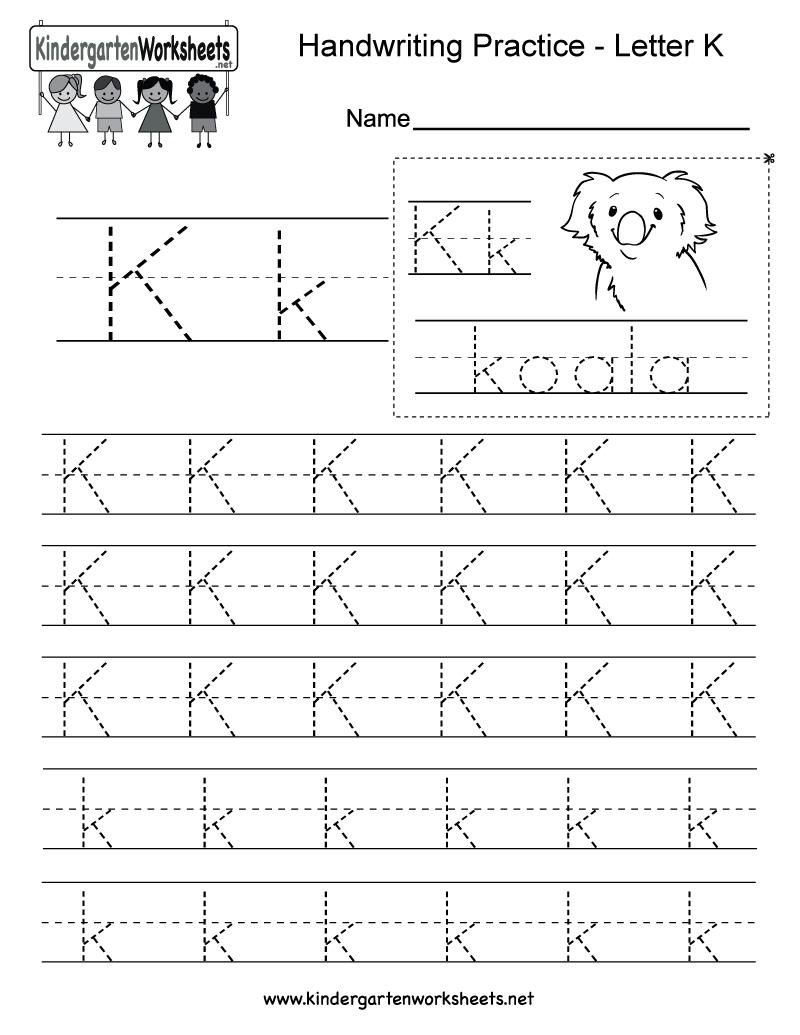 Letter K Writing Practice Worksheet - Free Kindergarten English - Free Printable Letter K Worksheets