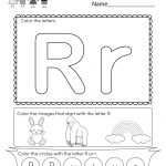 Letter R Coloring Worksheet   Free Kindergarten English Worksheet   Free Printable Preschool Worksheets For The Letter R