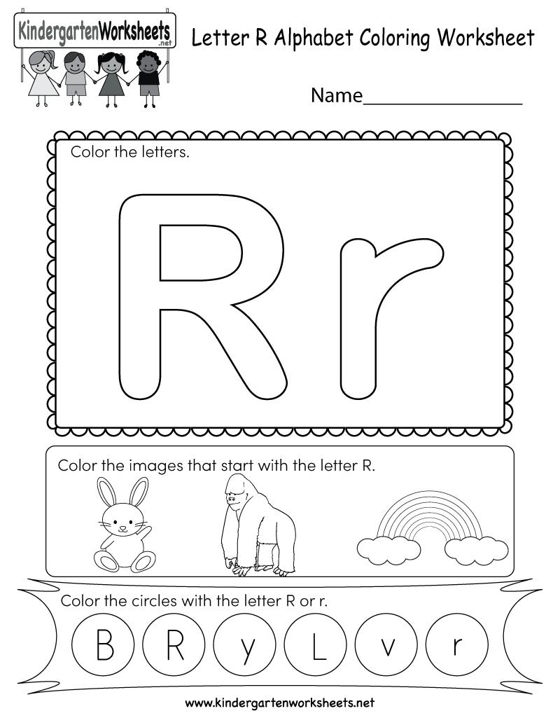 Letter R Coloring Worksheet - Free Kindergarten English Worksheet - Free Printable Preschool Worksheets For The Letter R