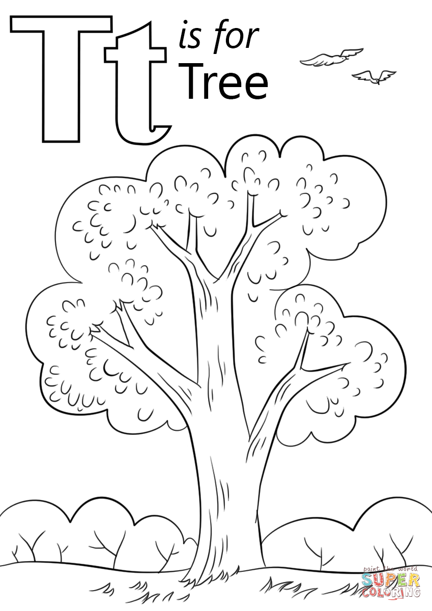 Letter T Is For Tree Coloring Page | Free Printable Coloring Pages - Tree Coloring Pages Free Printable