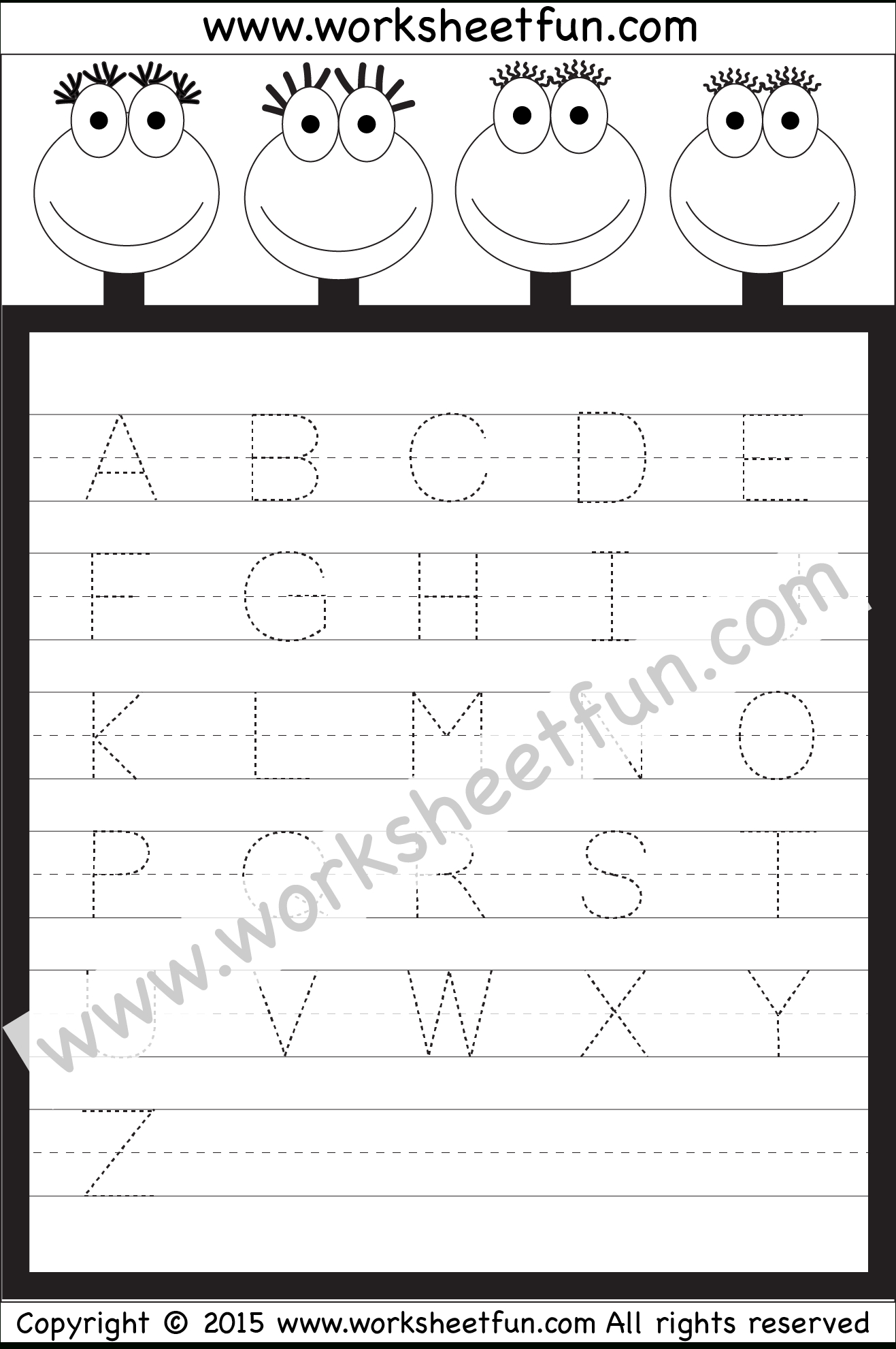 Letter Tracing Worksheet – Capital Letters / Free Printable - Free Printable Alphabet Tracing Worksheets For Kindergarten