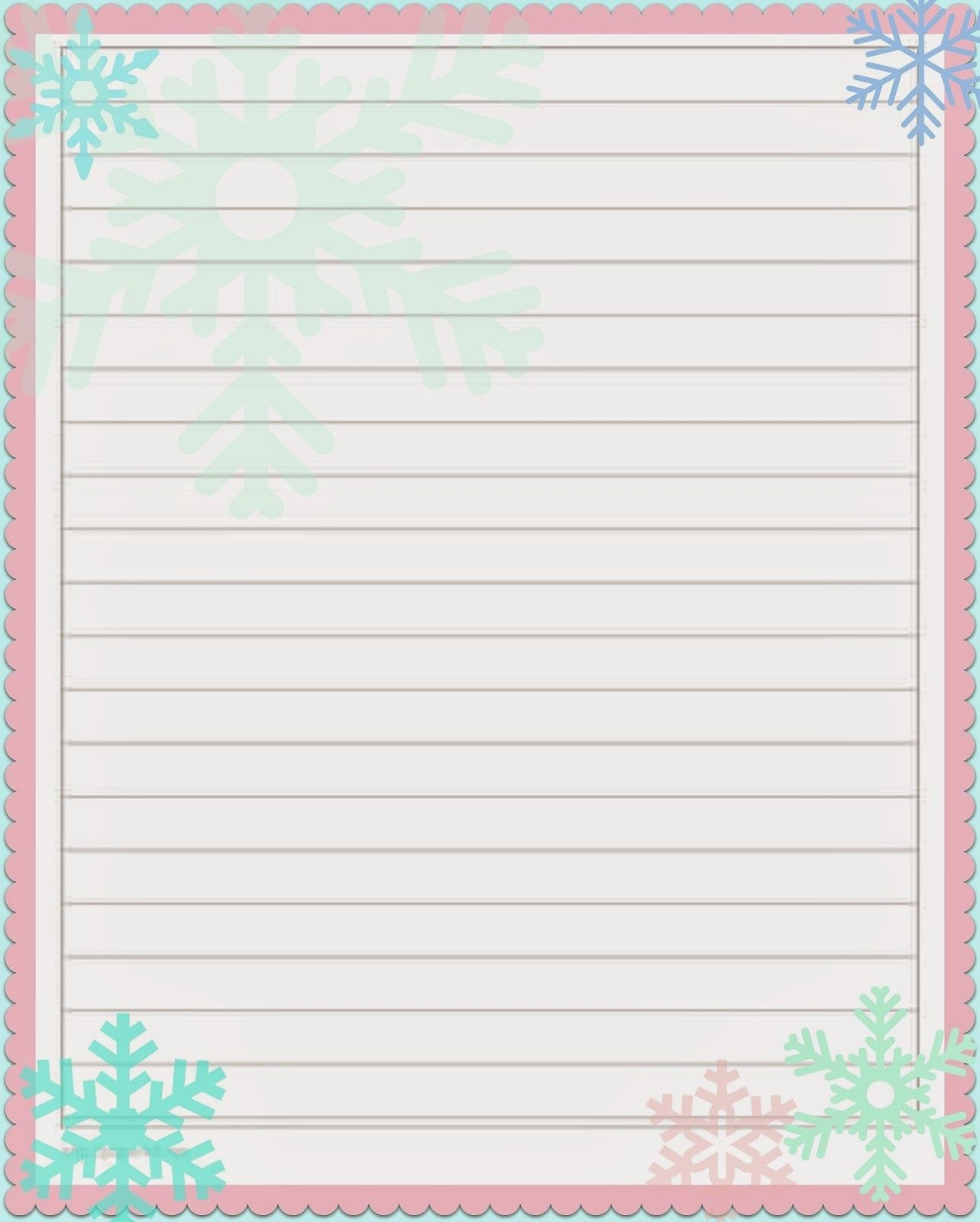 Lined Holiday Printable Paper 5X8 | Best Photos Of Cute Printable - Free Printable Christmas Writing Paper With Lines