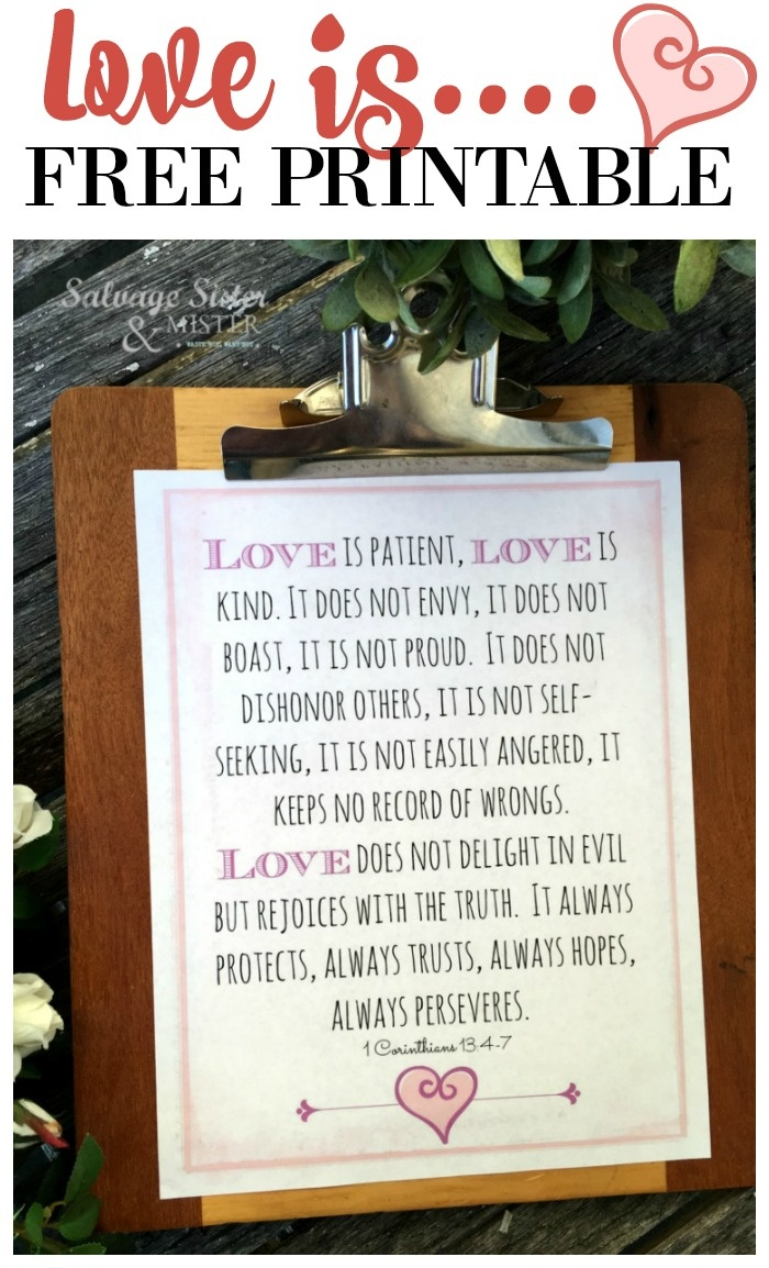 Love Is Free Printable - Salvage Sister And Mister - Love Is Patient Free Printable