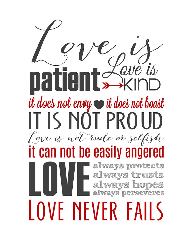 Love Is Patient Subway Art Printable {1 Corinthians 13} | Holiday - Love Is Patient Free Printable