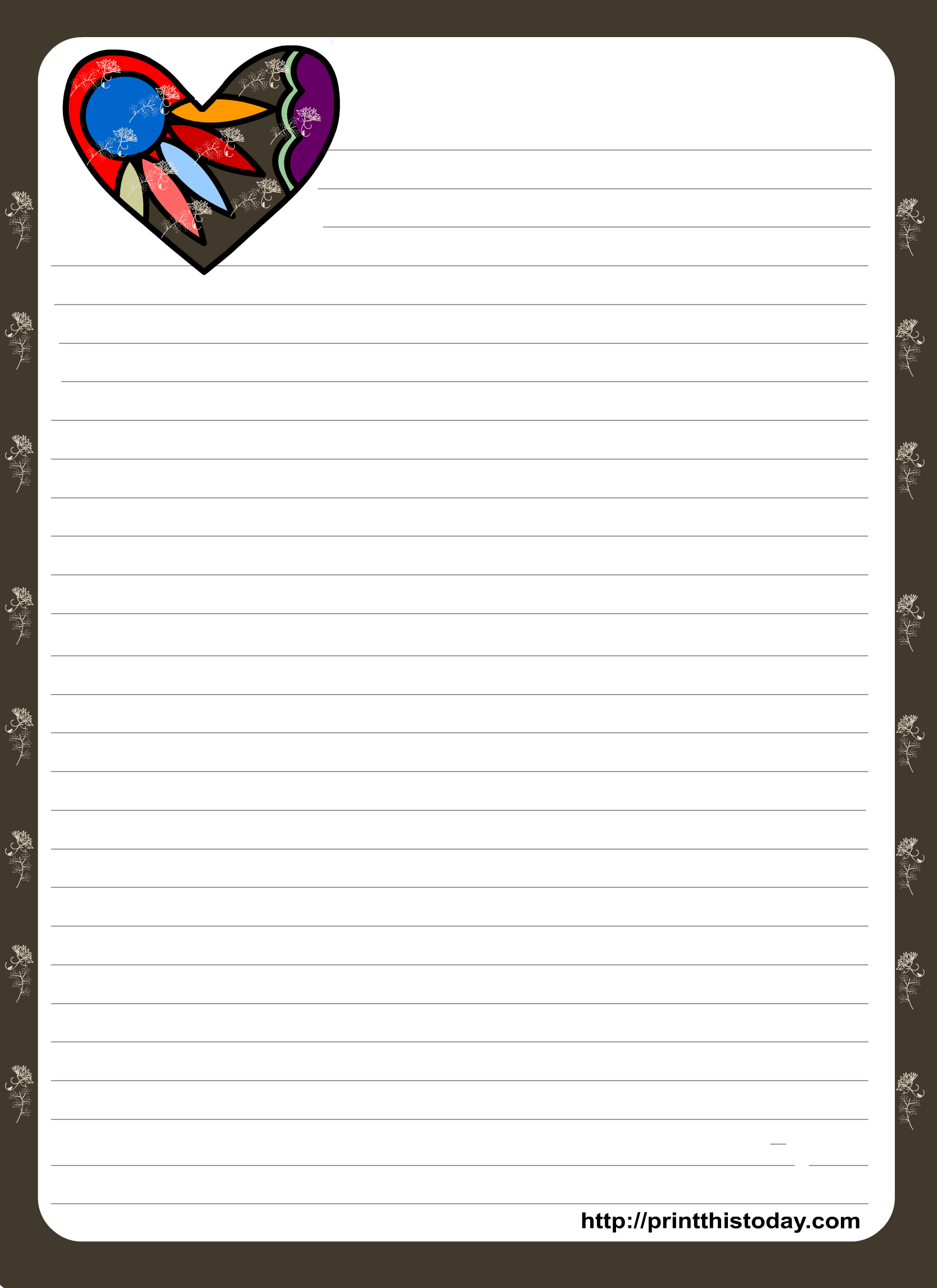 Love Letter Pad Stationery With Colorful Heart   Organization - Free Printable Love Letter Paper