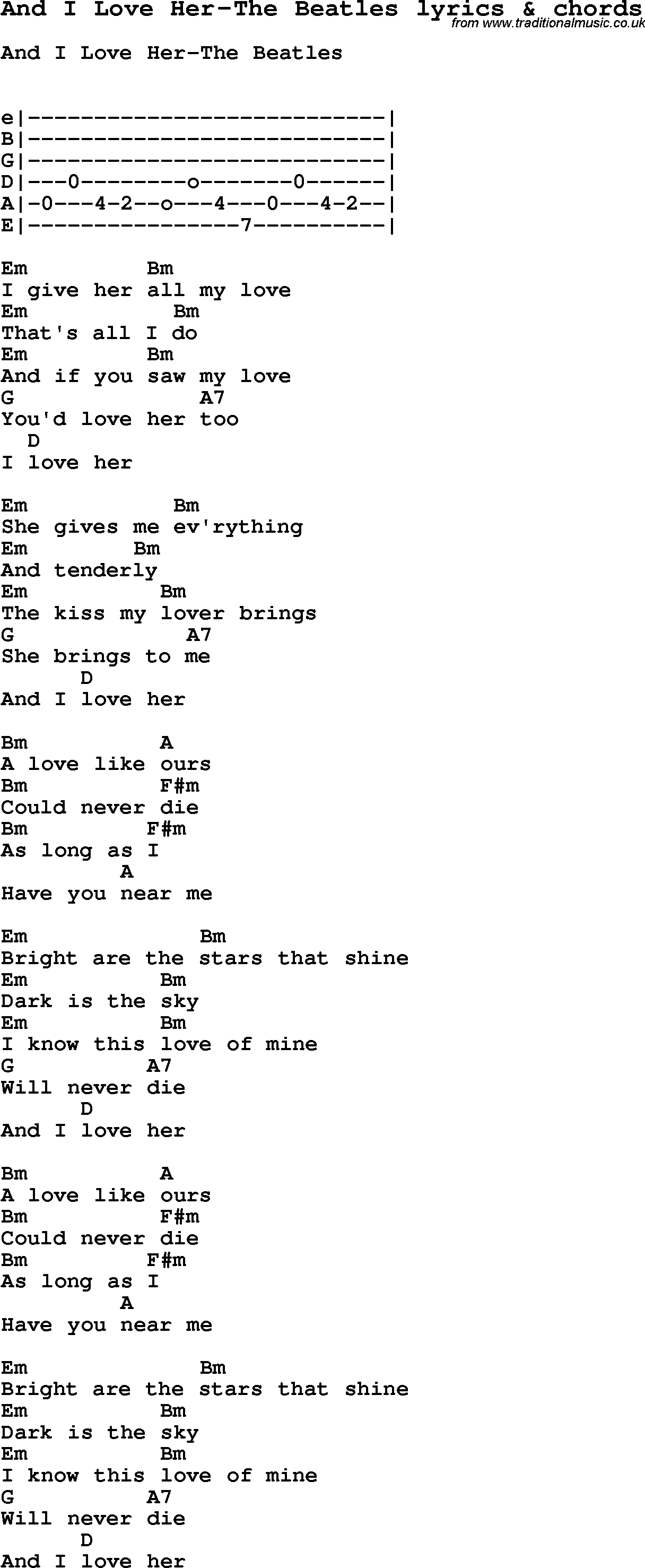 Love Song Lyrics For:and I Love Her-The Beatles With Chords. - Free Printable Song Lyrics With Guitar Chords