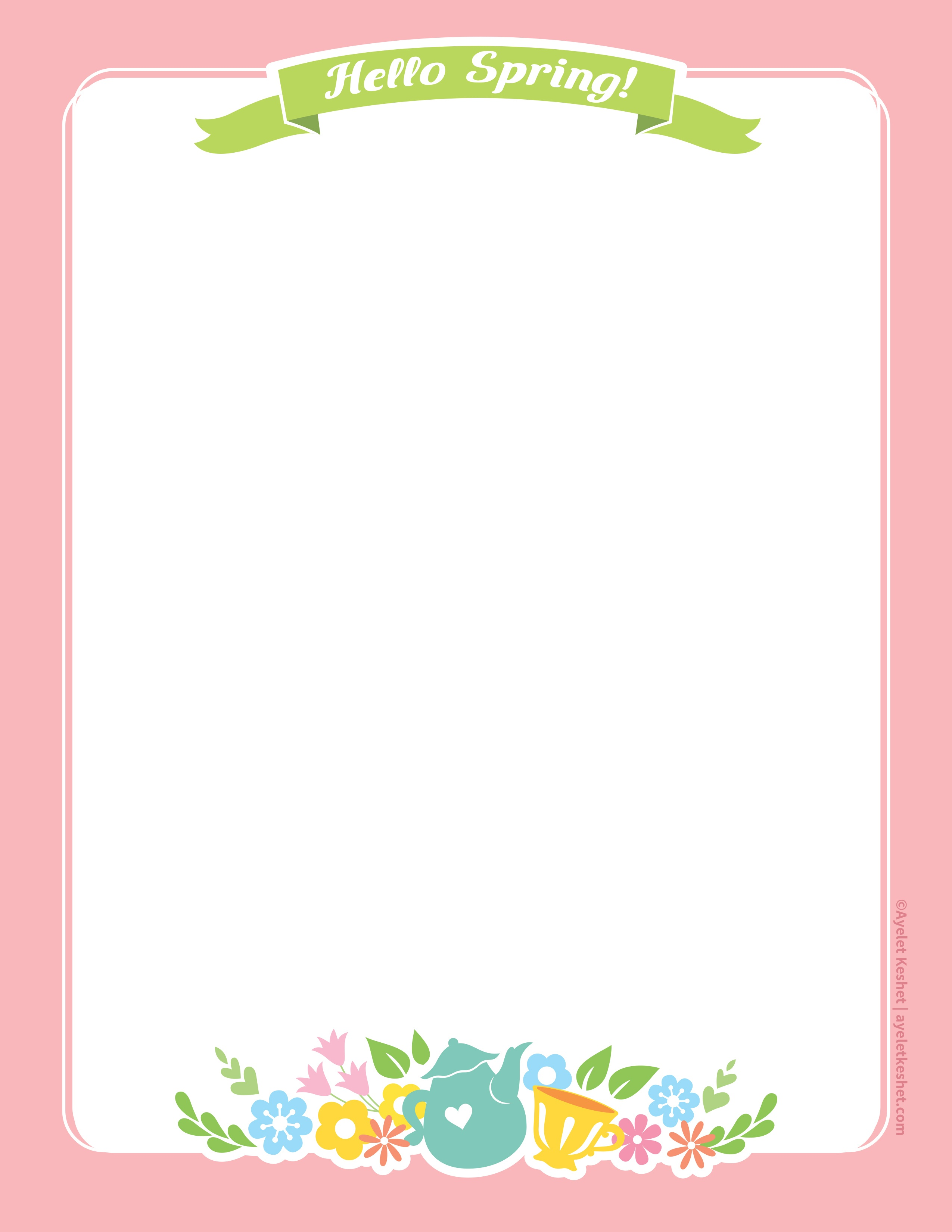 Lovely Free Printable Stationery Paper For Spring - Ayelet Keshet - Free Printable Stationery
